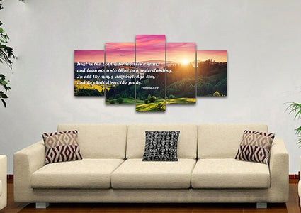 Proverbs 3:5-6 #24 'Trust in the Lord with all Thine Heart' Christian Scripture Wall Art Canvas