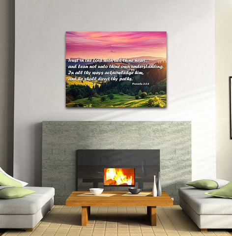 Image of Proverbs 3:5-6 #24 'Trust in the Lord with all Thine Heart' Christian Scripture Wall Art Canvas