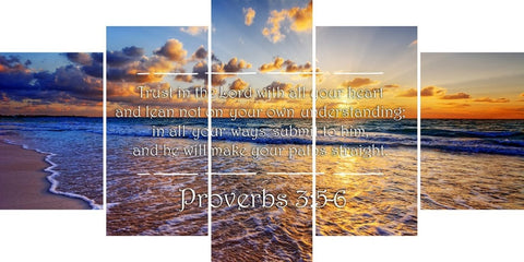 Proverbs 3:5-6 #28 'Trust in the Lord with all your Heart' Bible Verse Canvas Wall Art
