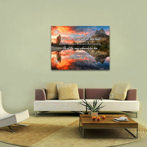 Proverbs 3:5-6 #29 KJV 'Trust in the Lord with all Thine Heart' Christian Scripture Wall Art Canvas