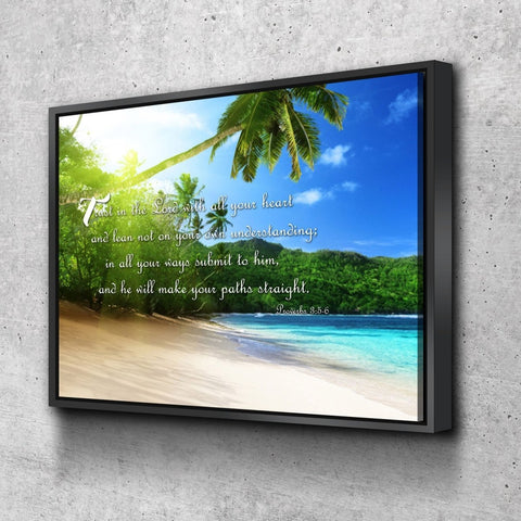Image of Proverbs 3:5-6 #2 NIV Trust in the Lord Christian Scripture Wall Art Canvas