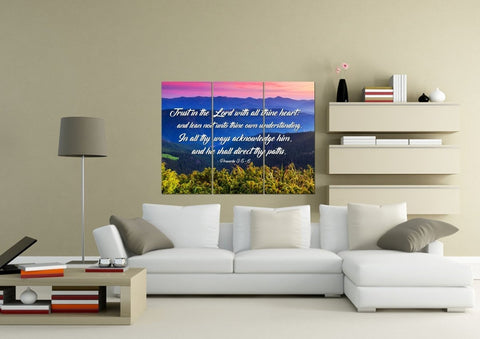 Image of Proverbs 3:5-6 #3 KJV 'Trust in the Lord' Christian Scripture Wall Art Canvas