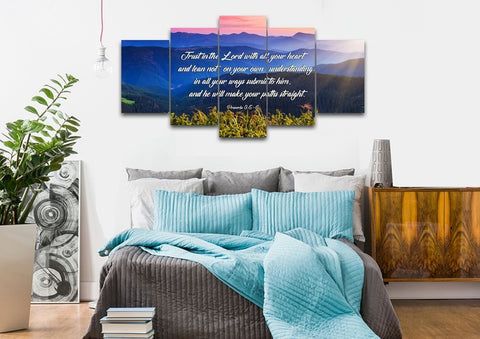 Image of Proverbs 3:5-6 #3 NIV Trust in the Lord Christian Scripture Wall Art Canvas