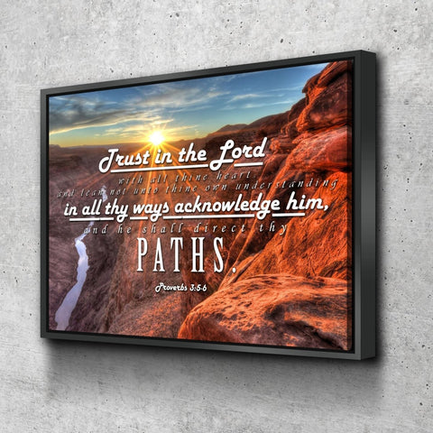 Proverbs 3:5-6 #30 KJV 'Trust in the Lord with all Thine Heart' Christian Scripture Wall Art Canvas