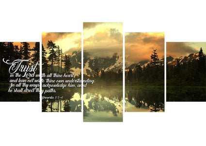 Proverbs 3:5-6 #32 KJV 'Trust in the Lord with all Thine Heart' Christian Scripture Wall Art Canvas