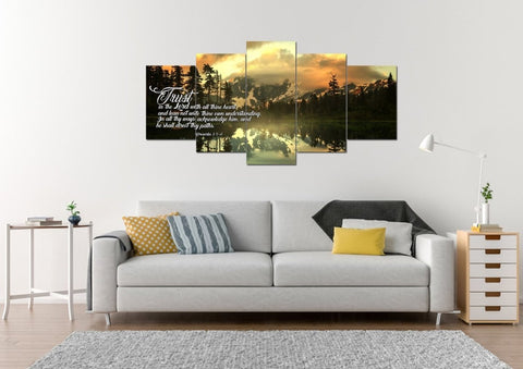 Image of Proverbs 3:5-6 #32 KJV 'Trust in the Lord with all Thine Heart' Christian Scripture Wall Art Canvas