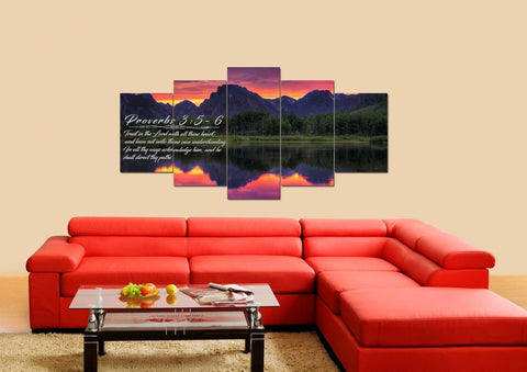 Proverbs 3:5-6 #34 KJV 'Trust in the Lord with all Thine Heart' Christian Scripture Wall Art Canvas