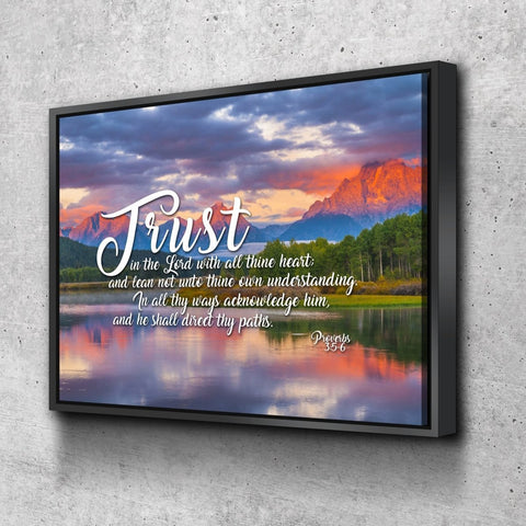 Proverbs 3:5-6 #36 KJV 'Trust in the Lord with all Thine Heart' Christian Scripture Wall Art Canvas