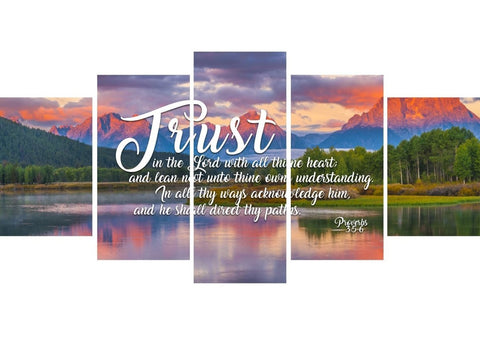Image of Proverbs 3:5-6 #36 KJV 'Trust in the Lord with all Thine Heart' Christian Scripture Wall Art Canvas