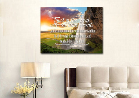 Proverbs 3:5-6 #37 KJV 'Trust in the Lord with all Thine Heart' Christian Scripture Wall Art Canvas