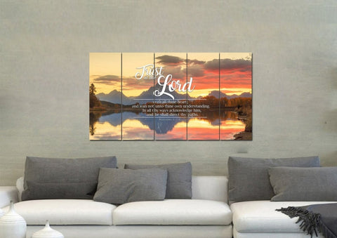Image of Proverbs 3:5-6 #39 KJV 'Trust in the Lord with all Thine Heart' Christian Scripture Wall Art Canvas