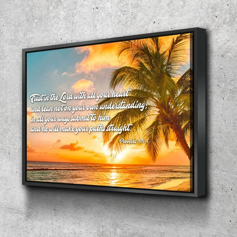 Proverbs 3:5-6 #4 NIV Trust in the Lord Christian Scripture Wall Art Canvas
