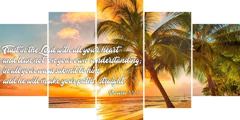 Image of Proverbs 3:5-6 #4 NIV Trust in the Lord Christian Scripture Wall Art Canvas