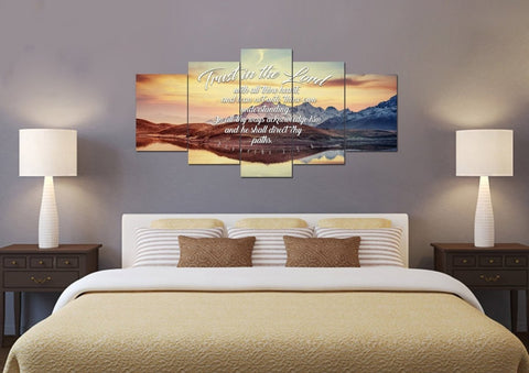 Proverbs 3:5-6 #42 KJV 'Trust in the Lord with all Thine Heart' Christian Scripture Wall Art Canvas