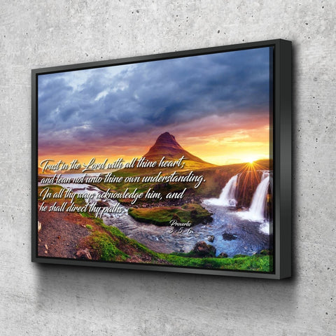 Proverbs 3:5-6 #43 KJV 'Trust in the Lord with all Thine Heart' Christian Scripture Wall Art Canvas