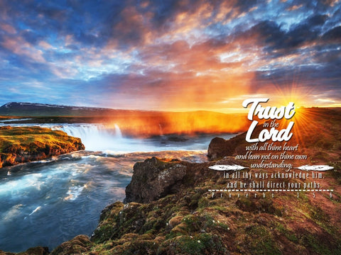 Proverbs 3:5-6 #44 KJV 'Trust in the Lord with all Thine Heart' Christian Scripture Wall Art Canvas