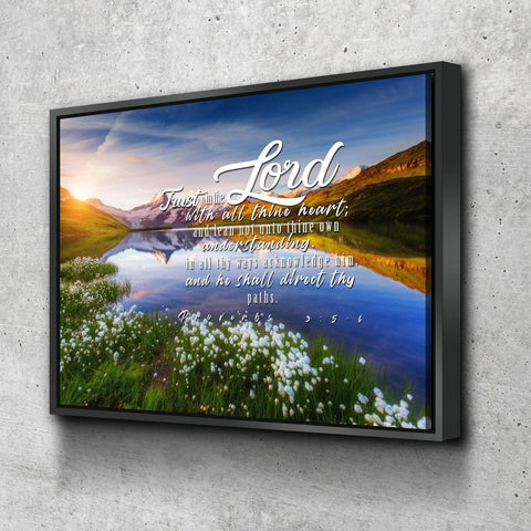 Image of Proverbs 3:5-6 #45 KJV 'Trust in the Lord with all Thine Heart' Christian Scripture Wall Art Canvas