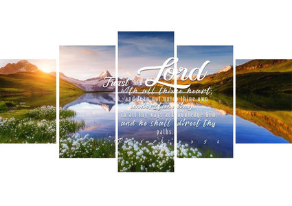 Proverbs 3:5-6 #45 KJV 'Trust in the Lord with all Thine Heart' Christian Scripture Wall Art Canvas