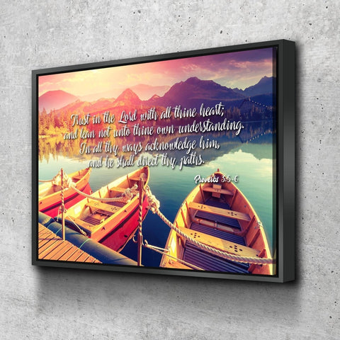 Image of Proverbs 3:5-6 #5 KJV 'Trust in the Lord' Christian Scripture Wall Art Canvas