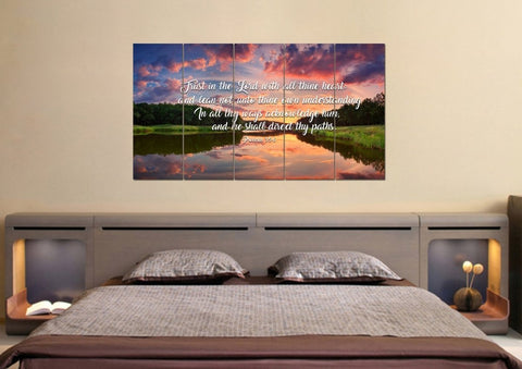 Image of Proverbs 3:5-6 #6 KJV 'Trust in the Lord' Christian Scripture Wall Art Canvas