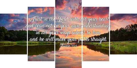 Proverbs 3:5-6 #6 NIV Trust in the Lord Christian Scripture Wall Art Canvas