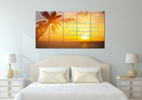 Image of Proverbs 3:5-6 #7 NIV Trust in the Lord Christian Scripture Wall Art Canvas