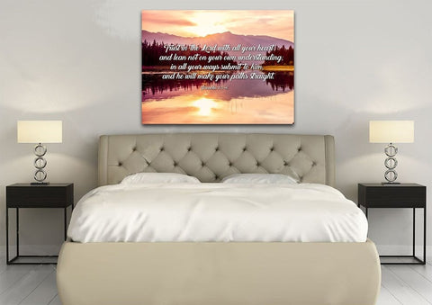 Image of Proverbs 3:5-6 #8 NIV Trust in the Lord Christian Scripture Wall Art Canvas