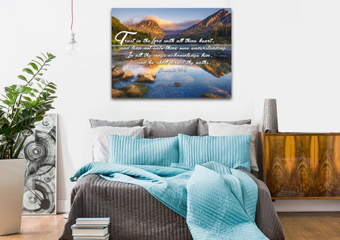 Image of Proverbs 3:5-6 #9 KJV 'Trust in the Lord' Christian Scripture Wall Art Canvas