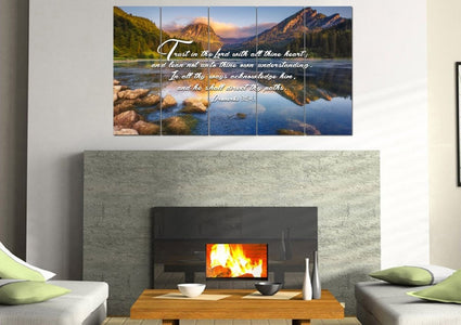 Proverbs 3:5-6 #9 KJV 'Trust in the Lord' Christian Scripture Wall Art Canvas
