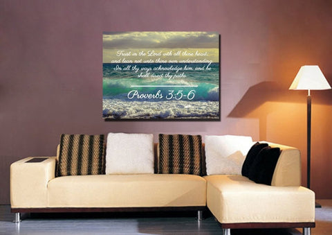 Proverbs 3:5-6 KJV #2 Bible Verse Canvas Wall Art