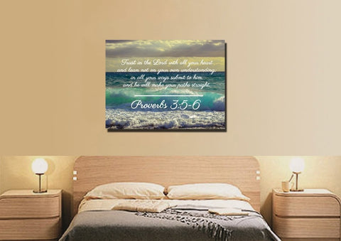 Proverbs 3:5-6 NIV #50 Bible Verse Canvas Wall Art