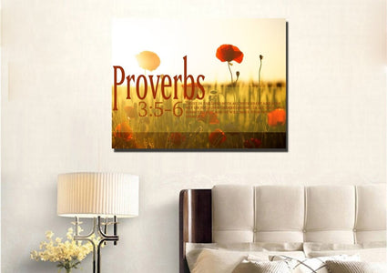 Proverbs 3:5-6 NIV #53 Bible Verse Canvas Wall Art