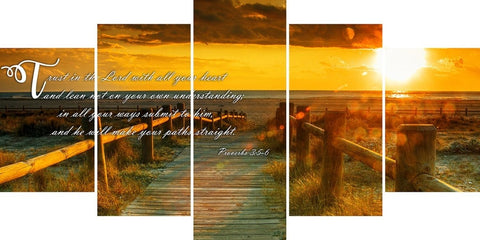 Image of Proverbs 3:5-6 NIV Trust in the Lord Bible Verse Wall Art Canvas