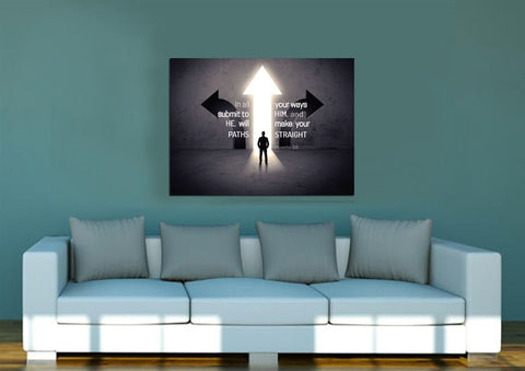 Image of Proverbs 3:6 #1 NIV In all your ways submit to him Bible Verse Wall Art Canvas