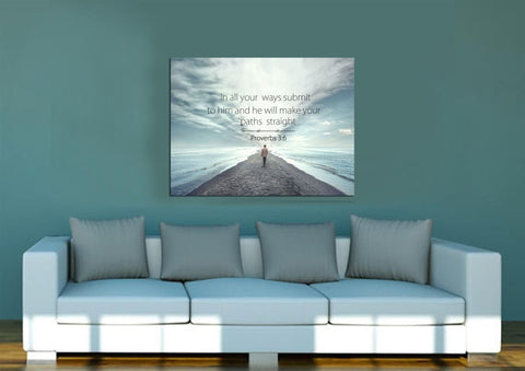 Proverbs 3:6 #10 NIV In all your ways submit to him Bible Verse Wall Art Canvas
