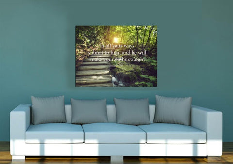 Image of Proverbs 3:6 #2 NIV In all your ways submit to him Bible Verse Wall Art Canvas