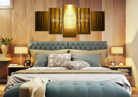 Image of Proverbs 3:6 #7 NIV In all your ways submit to him Bible Verse Wall Art Canvas