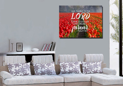 Image of Psalm 107:1 Give Thanks to the Lord, His Love Endures Forever Bible Verse Wall Art Canvas