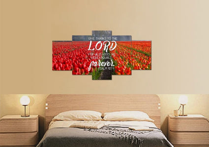 Psalm 107:1 Give Thanks to the Lord, His Love Endures Forever Bible Verse Wall Art Canvas