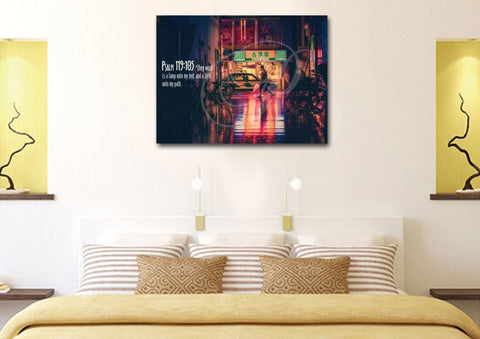 Image of Psalm 119:105 Thy Word is a Lamp unto my Feet Canvas Wall Art Print