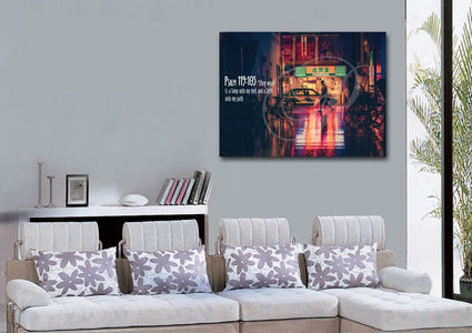 Psalm 119:105 Thy Word is a Lamp unto my Feet Canvas Wall Art Print