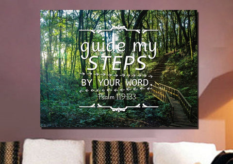 Image of Psalm 119:133 Guide my Steps by Your Word Bible Verse Canvas Wall Art