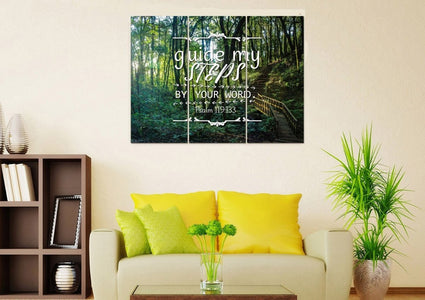 Psalm 119:133 Guide my Steps by Your Word Bible Verse Canvas Wall Art
