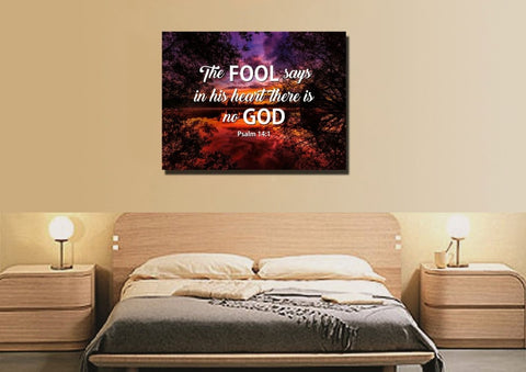 Image of Psalm 14:1 Canvas Wall Art Print - Christian Walls