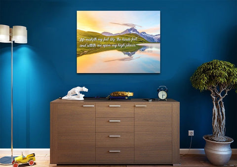 Psalm 18:33 KJV He maketh my feet like hinds' feet, and setteth me upon my high places. Bible Verse Canvas Wall Art