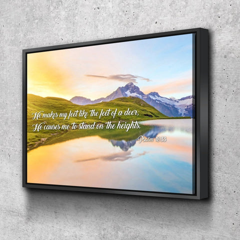 Psalm 18:33 NIV Bible Verse Canvas Wall Art