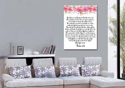 Psalm 23 #7 The Lord is my Shepherd Canvas Wall Art Print
