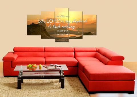 Psalm 23:1 The Lord is my Shepherd, I Lack Nothing Bible Verse Canvas Wall Art