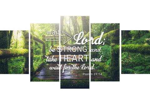 Psalm 27:14 Canvas Wall Art Print - Christian Walls