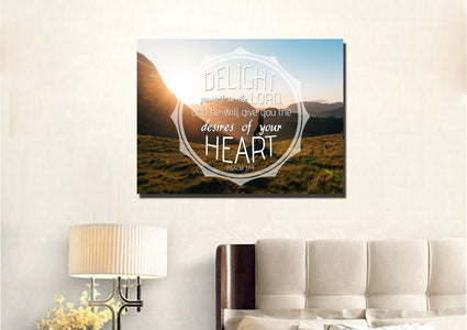 Psalm 37:4 Delight Yourself in the Lord Canvas Wall Art Print